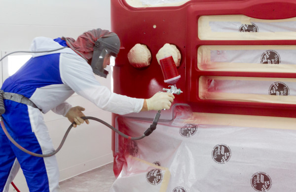 Paint and Body Repair Shop - Spraying Paint on Pierce Fire Truck - Glick Fire Equipment