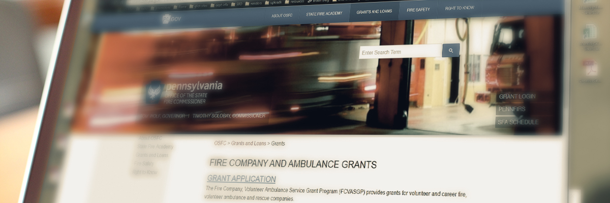 PA fire grant available through the fire commissioner's website