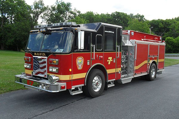 Pierce Saber fire engine pumper tanker - new fire apparatus sales in PA - driver front