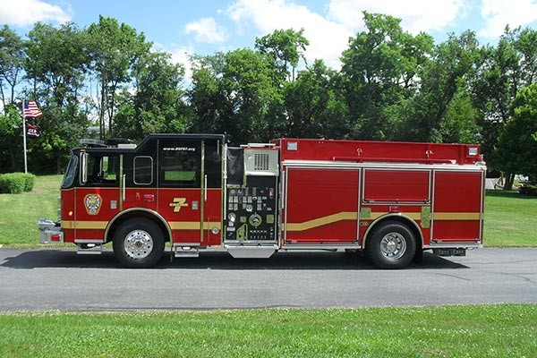 Pierce Saber fire engine pumper tanker - new fire apparatus sales in PA - driver side