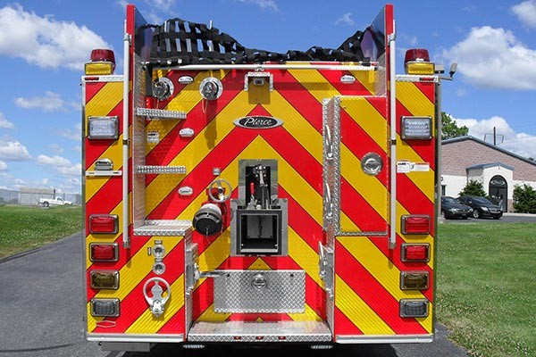 Pierce Saber fire engine pumper tanker - new fire apparatus sales in PA - rear