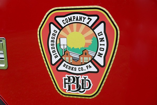 Pierce Saber fire engine pumper tanker - new fire apparatus sales in PA - Birdsboro-Union FD emblem
