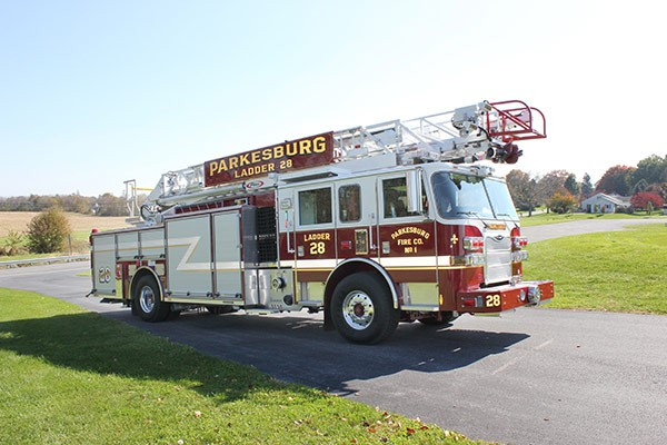 Pierce Arrow XT heavy duty aerial ladder fire truck - new aerial ladder fire truck sales in PA - passenger front