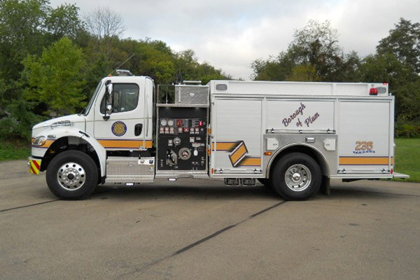 Pierce Freightliner fire engine - new commercial pumper sales in PA - driver side