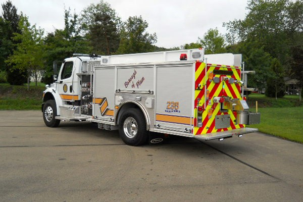 Pierce Freightliner fire engine - new commercial pumper sales in PA - driver rear
