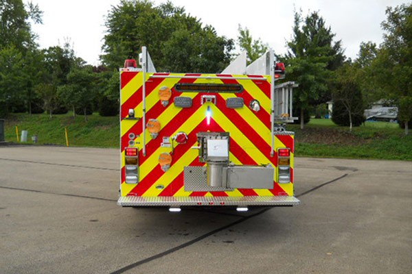 Pierce Freightliner fire engine - new commercial pumper sales in PA - rear