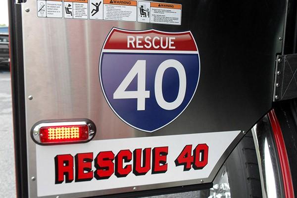Pierce Arrow XT rescue pumper - Glick FIre new rescue fire engine sales in PA - door interior graphics