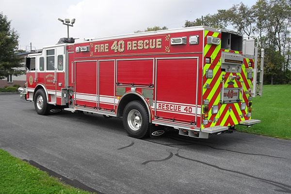 Pierce Arrow XT rescue pumper - Glick FIre new rescue fire engine sales in PA - driver rear