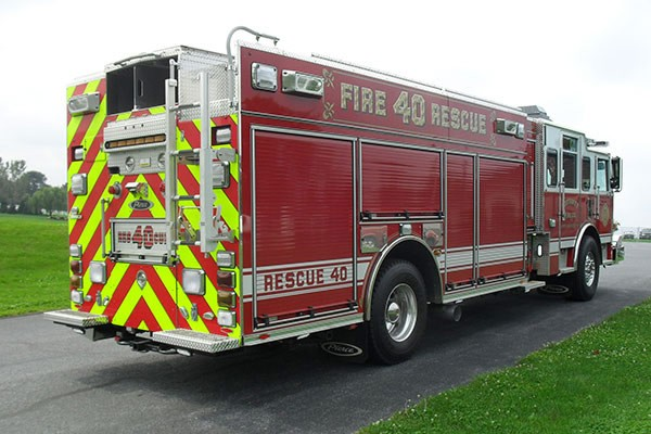 Pierce Arrow XT rescue pumper - Glick FIre new rescue fire engine sales in PA - passenger rear