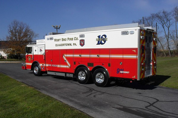 Pierce Arrow XT walk-in rescue - new fire rescue sales in Pennsylvania - driver rear