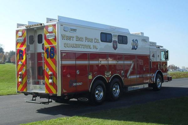 Pierce Arrow XT walk-in rescue - new fire rescue sales in Pennsylvania - passenger rear