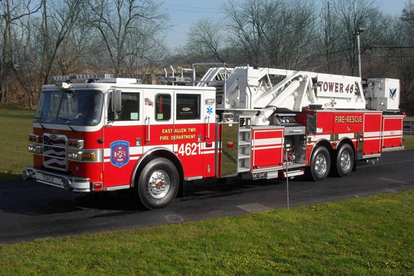 Pierce Arrow XT midmount platform fire truck - new mid-mount aerial sales in PA - driver front