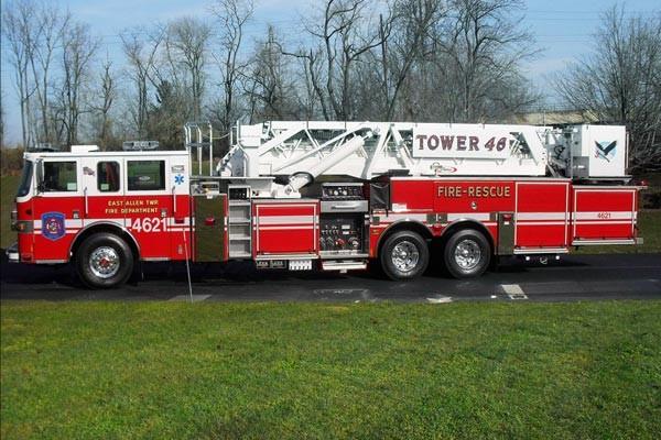 Pierce Arrow XT midmount platform fire truck - new mid-mount aerial sales in PA - driver side