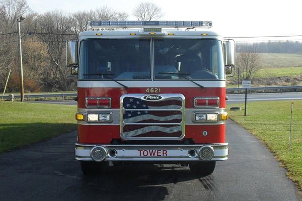 Pierce Arrow XT midmount platform fire truck - new mid-mount aerial sales in PA - front