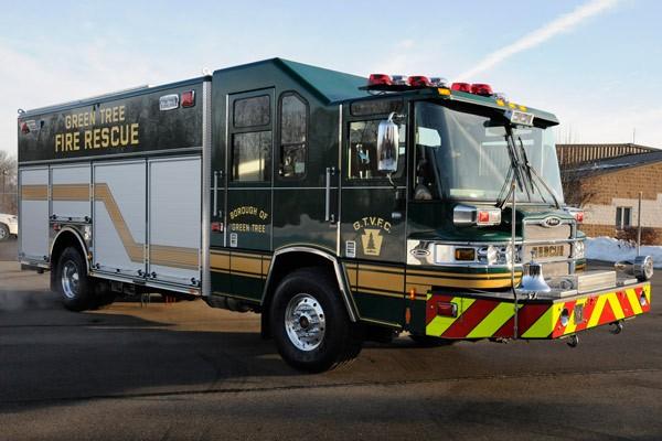 Pierce Quantum rescue fire apparatus - new fire rescue truck sales in PA - passenger front