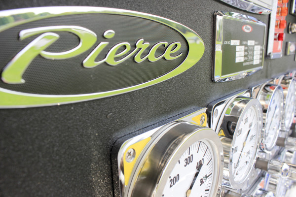 2015 Pierce rescue pumper - fire engine - pump panel close up view