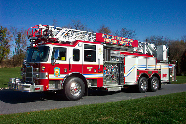 Pierce Dash 75' Ladder Aerial Fire Truck - Driver Side Angle View