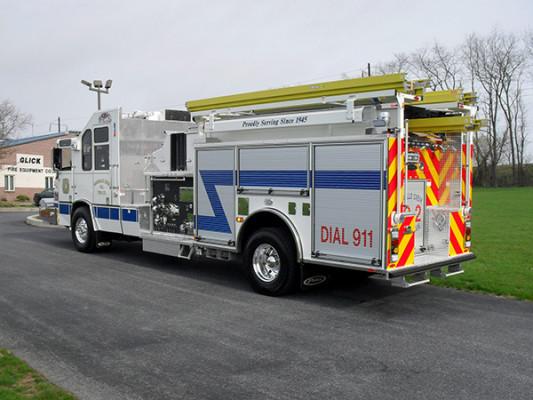 Pierce Quantum Pumper - Fire Engine - Driver Rear Angle View