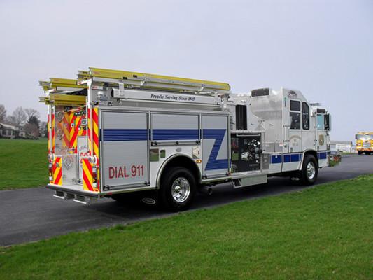 Pierce Quantum Pumper - Fire Engine - Passenger Rear Angle View