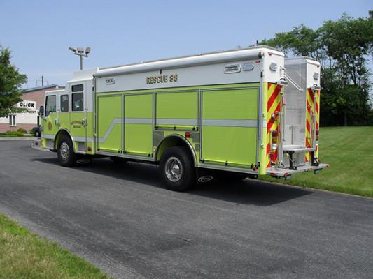 Pierce Impel Heavy Duty Rescue Truck - Non-Walk-In Rescue - Driver Rear