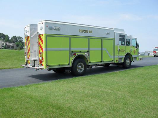 Pierce Impel Heavy Duty Rescue Truck - Non-Walk-In Rescue - Passenger Rear