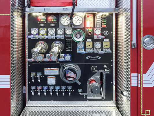 Pierce Saber FR - Rescue Pumper Fire Truck - Engine 18 - Pump Control Panel