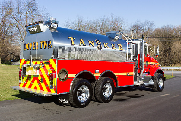 Dover Twp. FD - Pierce Kenworth Commercial Tanker Fire Truck - passenger rear