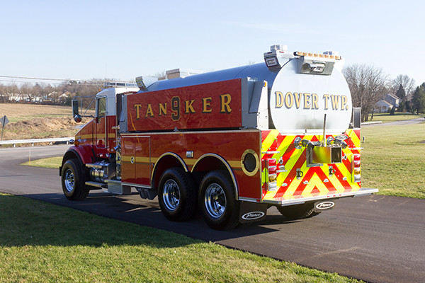 Dover Twp. FD - Pierce Kenworth Commercial Tanker Fire Truck - driver rear