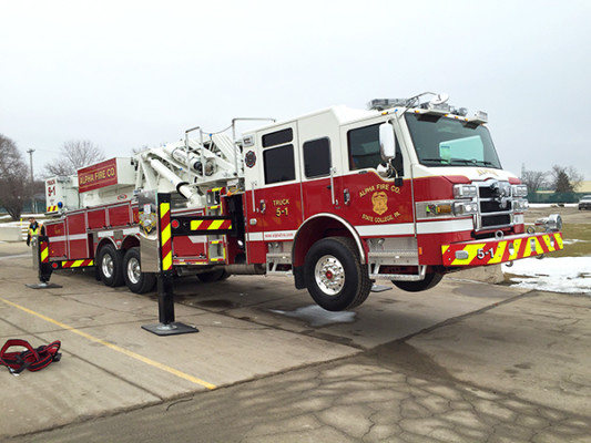 Fire Truck - 2016 Pierce Velocity Mid-Mount Aerial Platform - Alpha Fire Company - lifted