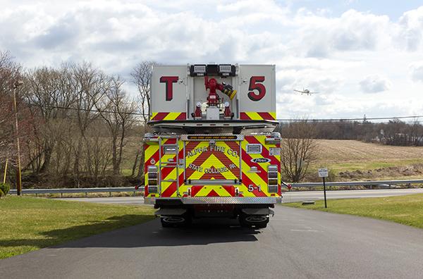 Fire Truck - 2016 Pierce Velocity Mid-Mount Aerial Platform - Alpha Fire Company - rear