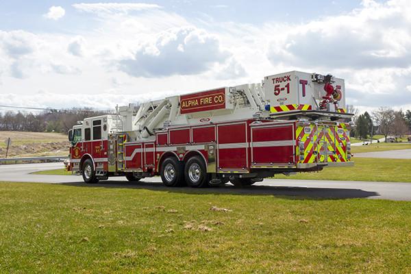 Fire Truck - 2016 Pierce Velocity Mid-Mount Aerial Platform - Alpha Fire Company - driver rear