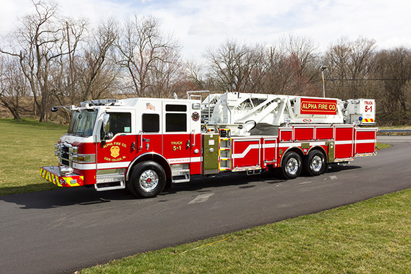 Fire Truck - 2016 Pierce Velocity Mid-Mount Aerial Platform - Alpha Fire Company - driver front