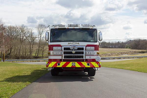 Fire Truck - 2016 Pierce Velocity Mid-Mount Aerial Platform - Alpha Fire Company - front