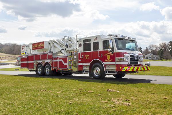 Fire Truck - 2016 Pierce Velocity Mid-Mount Aerial Platform - Alpha Fire Company - passenger front