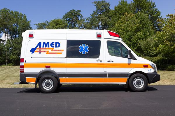 AMED - Demers Mirage EXE Type II Ambulance - Mercedes Sprinter - passenger side
