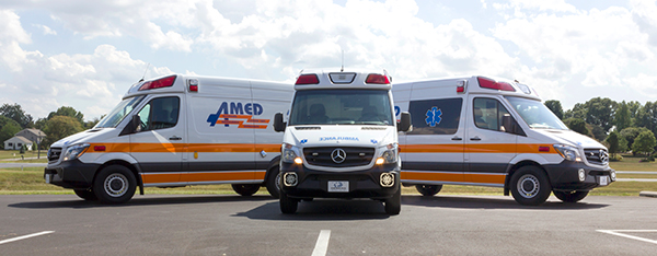 AMED - Demers Mirage EXE Type II Ambulance - Mercedes Sprinter - all three units together