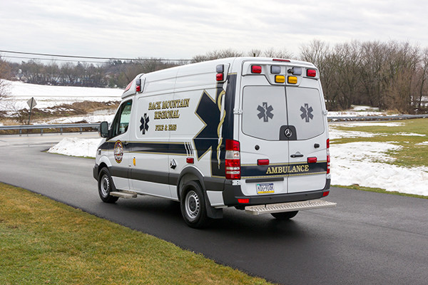 Back Mtn. Fire & EMS - Demers EXE Type II Ambulance - driver rear