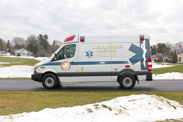 Back Mtn. Fire & EMS - Demers EXE Type II Ambulance - driver side