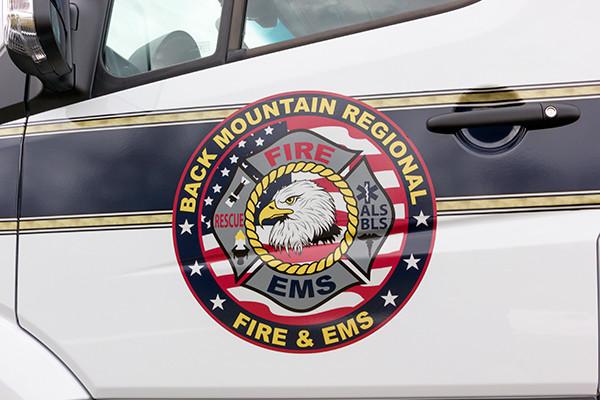 Back Mtn. Fire & EMS - Demers EXE Type II Ambulance - emblem