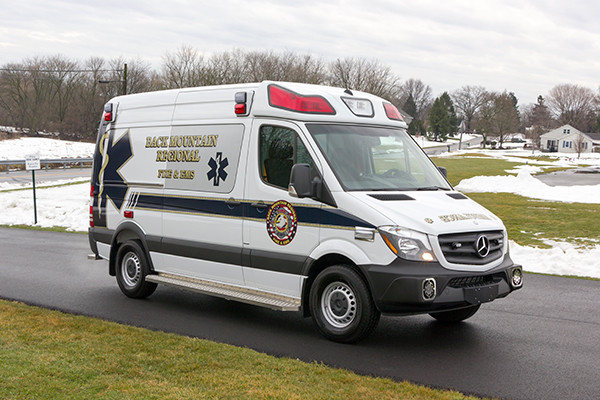 Back Mtn. Fire & EMS - Demers EXE Type II Ambulance - passenger front