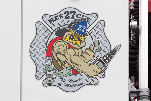 2015 Pierce Enforcer PUC pumper - fire engine - station logo close up view