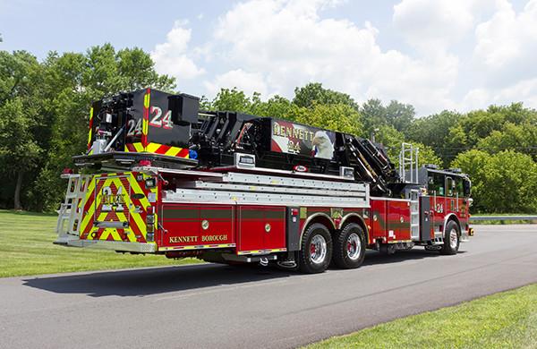 2016 Pierce Arrow XT 75' mid-mount aerial platform - ladder fire truck - passenger rear