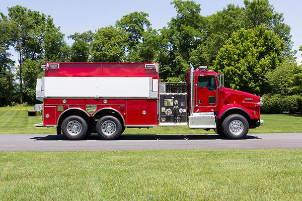 2016 Pierce Kenworth - commercial dry side tanker fire truck - passenger side