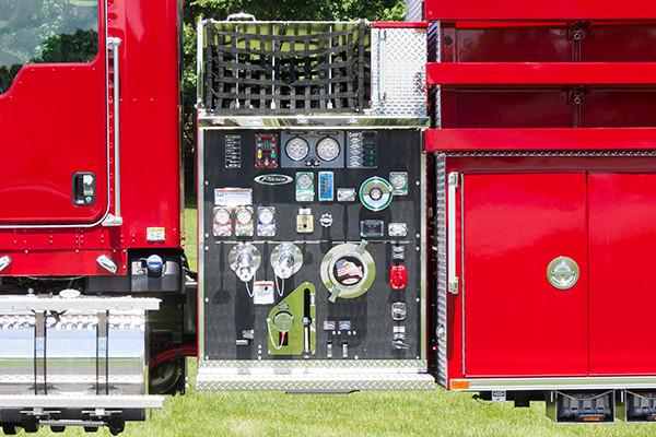 2016 Pierce Kenworth - commercial dry side tanker fire truck - pump panel