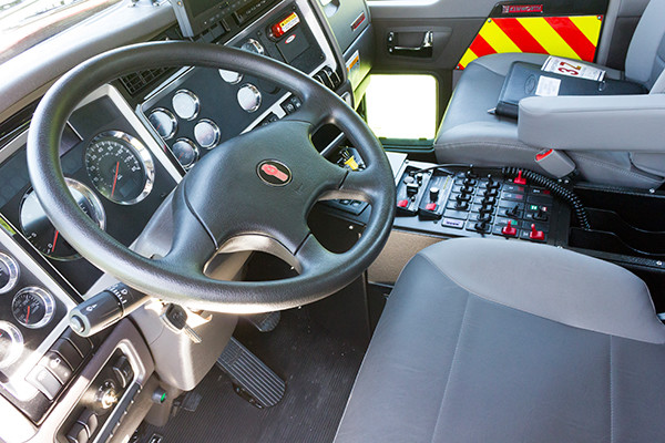2016 Pierce Kenworth - commercial dry side tanker fire truck - cab interior
