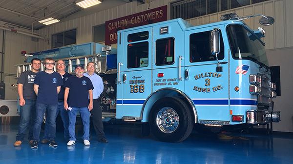 2016 Pierce Enforcer - fire engine pumper - final inspection on blue floor