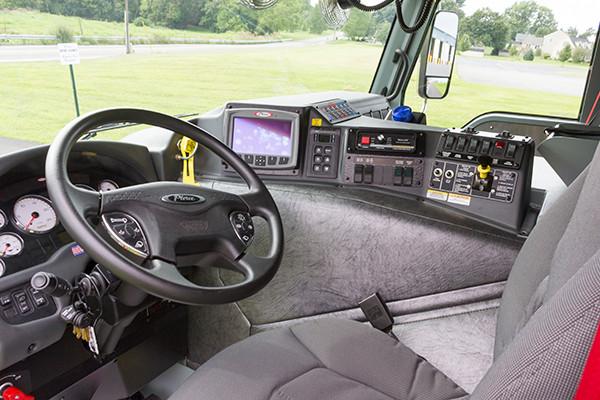 2016 Pierce Velocity mid-mount - 95' aerial platform fire truck - cab driver interior