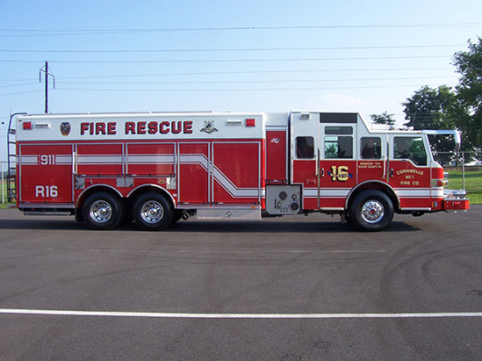 Pierce Velocity non-walk-in rescue - new rescue fire truck - passenger side