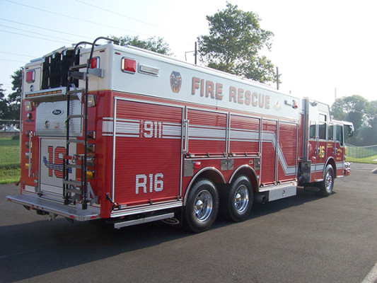 Pierce Velocity non-walk-in rescue - new rescue fire truck - passenger rear