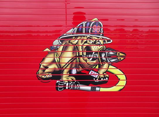 2009 Pierce Velocity PUC rescue pumper - rescue fire engine - bulldog graphic